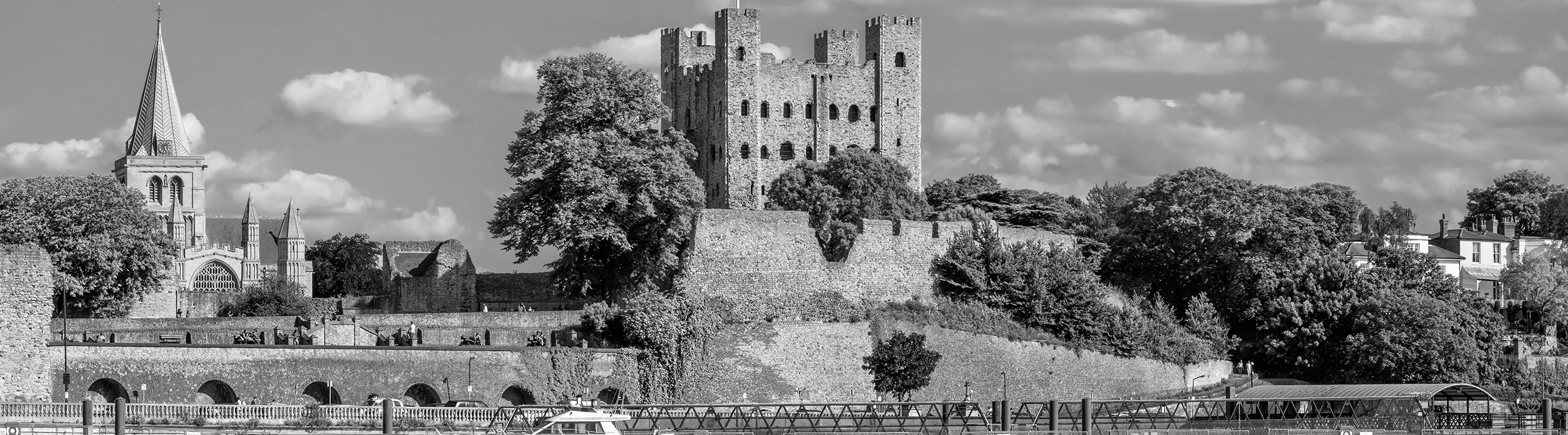 A castle and town walls in Medway